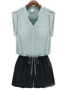 Blue V Neck With Pocket Lace Up Jumpsuit