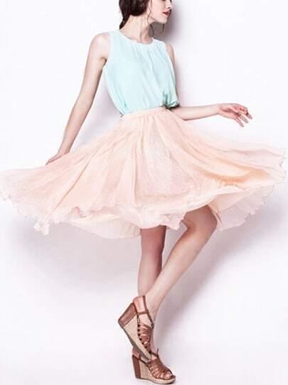 Pink Elastic Waist Multilayers Mesh Skirt
