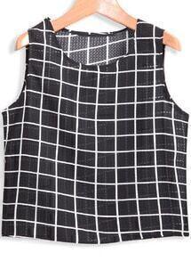 Black Sleeveless Plaid Crop T-Shirt