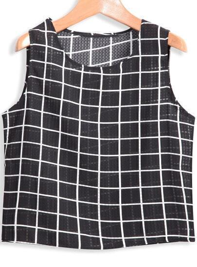 Black Sleeveless Plaid Crop T-Shirt