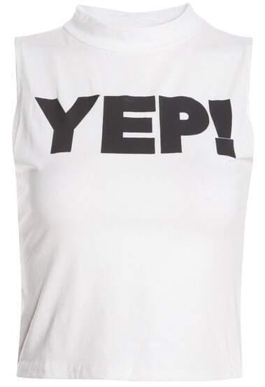 White Letter Print Slim T-Shirt