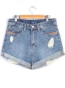 Shorts Denim con rotos-azul