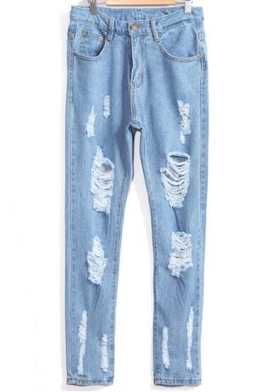 Pale Blue Ripped Pocket Denim Pant