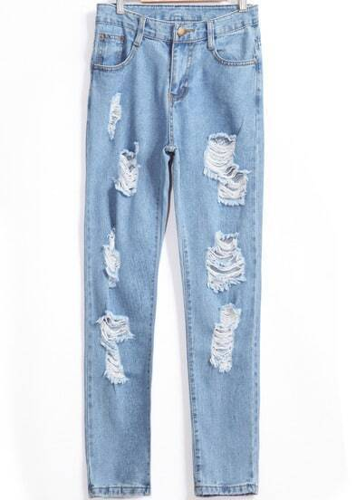 Pale Blue Ripped Denim Pant