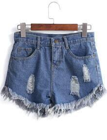 Blue Fringe Ripped Denim Shorts