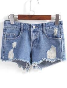 Blue Fringe Ripped Shorts