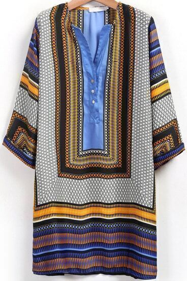 Blue Woven V Neck Tribal Print Shift Dress