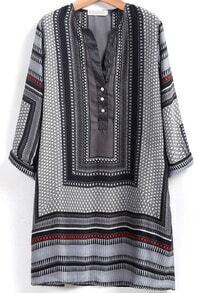 Grey V Neck Tribal Print Shift Dress