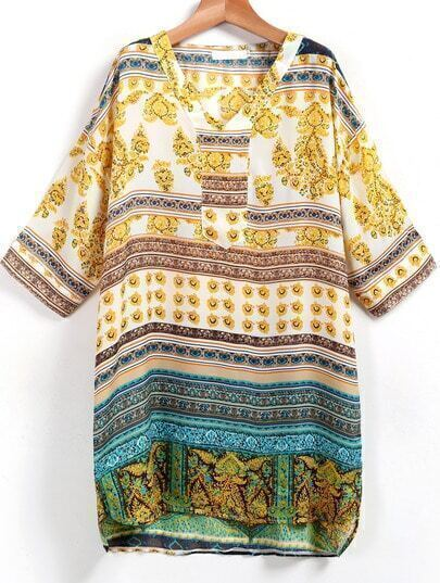 Yellow V Neck Tree Leaf Print Shift Dress