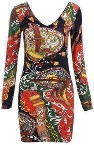 Multicolor V Neck Abstract Print Bodycon Dress