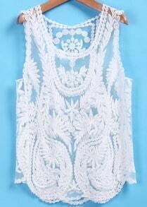 White Sheer Lace Crochet Tank Top