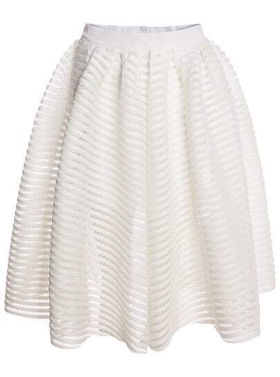 White With Zipper Hollow Flare Skirt