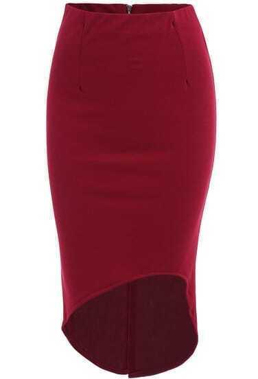 Вино-красная юбка на молнии с низким подолом