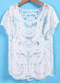 White Lace Crochet Slim Blouse