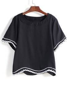 Black Contrast Hem Loose Blouse