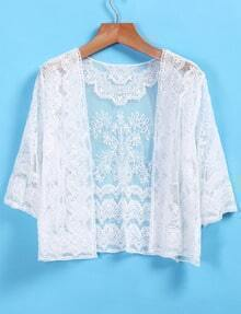 White Embroidered Lace Crop Blouse