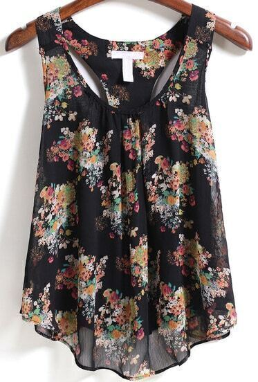 Black Scoop Neck Floral Tank Top