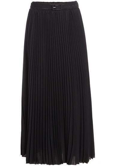 Black Pleated Long Chiffon Skirt