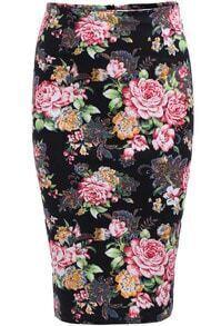 Black Rose Print Slim Skirt