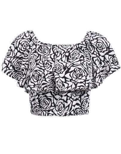 Black Boat Neck Ruffle Rose Print Top