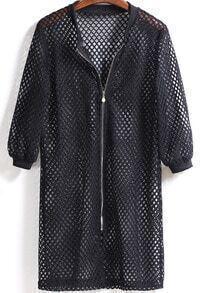 Black Zipper Hollow Mesh Coat