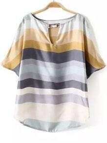 Multicolor V Neck Striped Loose Blouse
