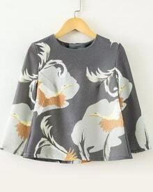 Grey Round Neck Swan Print Crop Blouse