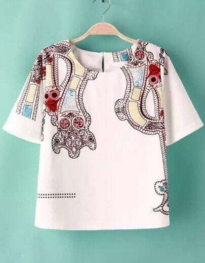 White Short Sleeve Floral Crop Blouse