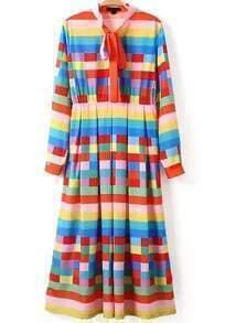 Multicolor Tie-neck Striped Pleated Dress