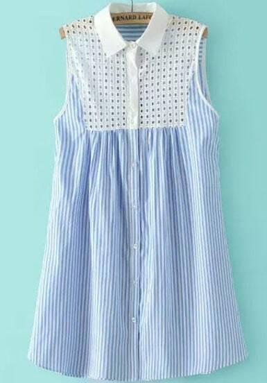 Blue Bleached Collars Sleeveless Hollow Vertical Stripe Dress