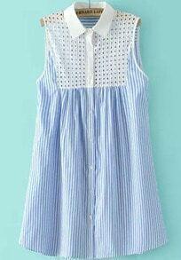 Blue Sleeveless Hollow Vertical Stripe Dress