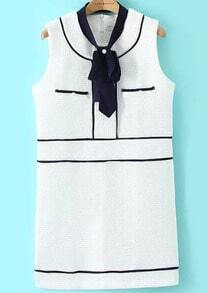 White Tie-neck Sleeveless Contrast Trims Dress