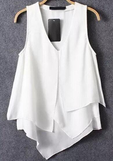 White V Neck Asymmetrical Ruffle Chiffon Cami Top