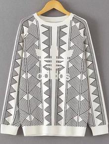 Sweat-shirt décontracté imprimé géométrique col rond -blanc