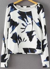 sweat-shirt court floral -blanc