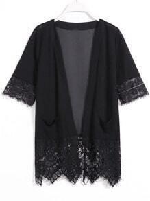 Black Short Sleeve Hollow Lace Blouse