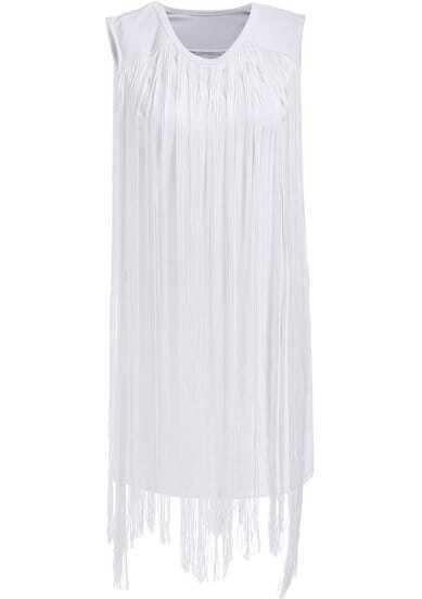 White Sleeveless Slim Tassel Dress