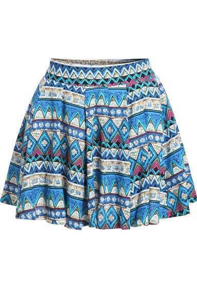 Blue Tribal Print Pleated Skirt
