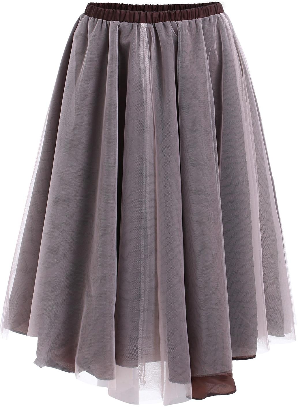 coffee elastic waist sheer mesh pleated skirt shein