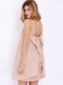Apricot Strap Bow Ruffle Dress