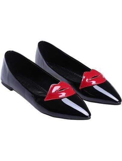 Black Point Toe Lip Pattern Flat Shoes