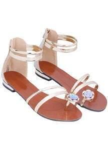 Gold Back Zipper Slingbacks Flat Sandals
