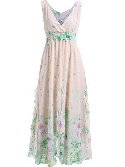 Apricot V Neck Sleeveless Floral Tea Length Dress