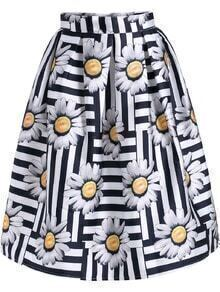 Black White Striped Daisy Print Skirt