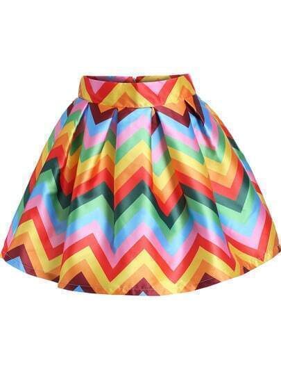 Multicolor Zigzag Print Flare Skirt