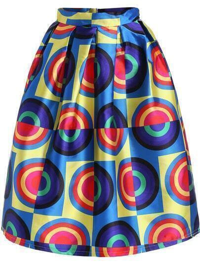 Multicolor Circle Print Flare Skirt