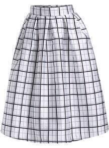 Black White Plaid Flare Midi Skirt