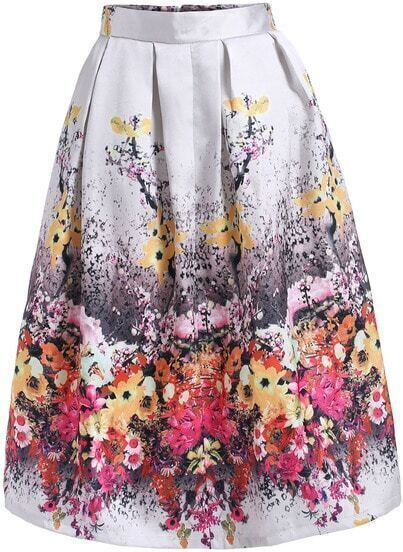 Apricot Floral Flare Skirt