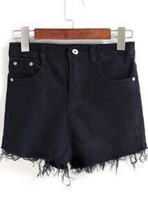 Black Pockets Tassel Denim Shorts