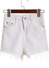 White Pockets Tassel Denim Shorts